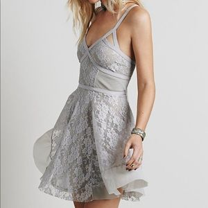 Free people taped lacy slip dress
